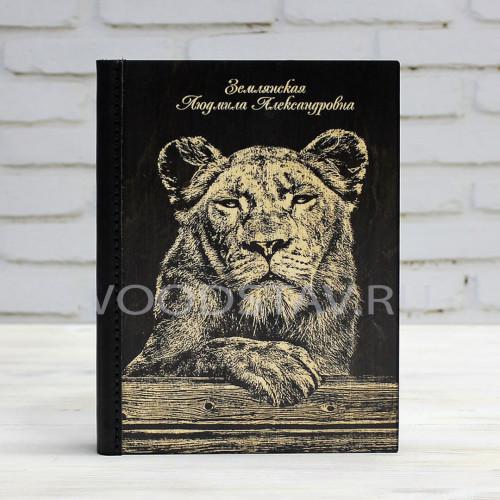 Ежедневник из дерева и кожи Тигрица