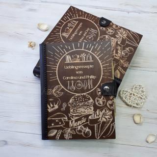 Книга рецептов из дерева и кожи Гамбургер (LW-00020)