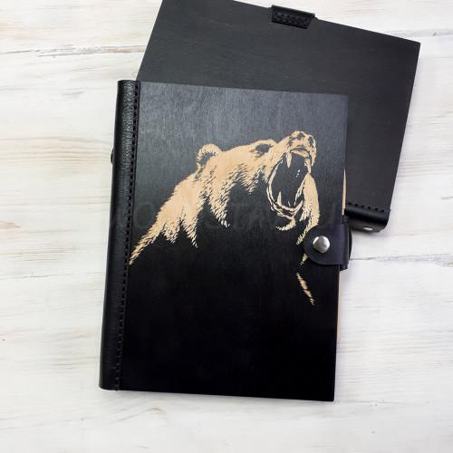 Ежедневник из дерева и кожи Медведь