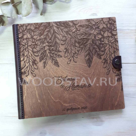 Деревянный фотоальбом с цветами (FA-010)
